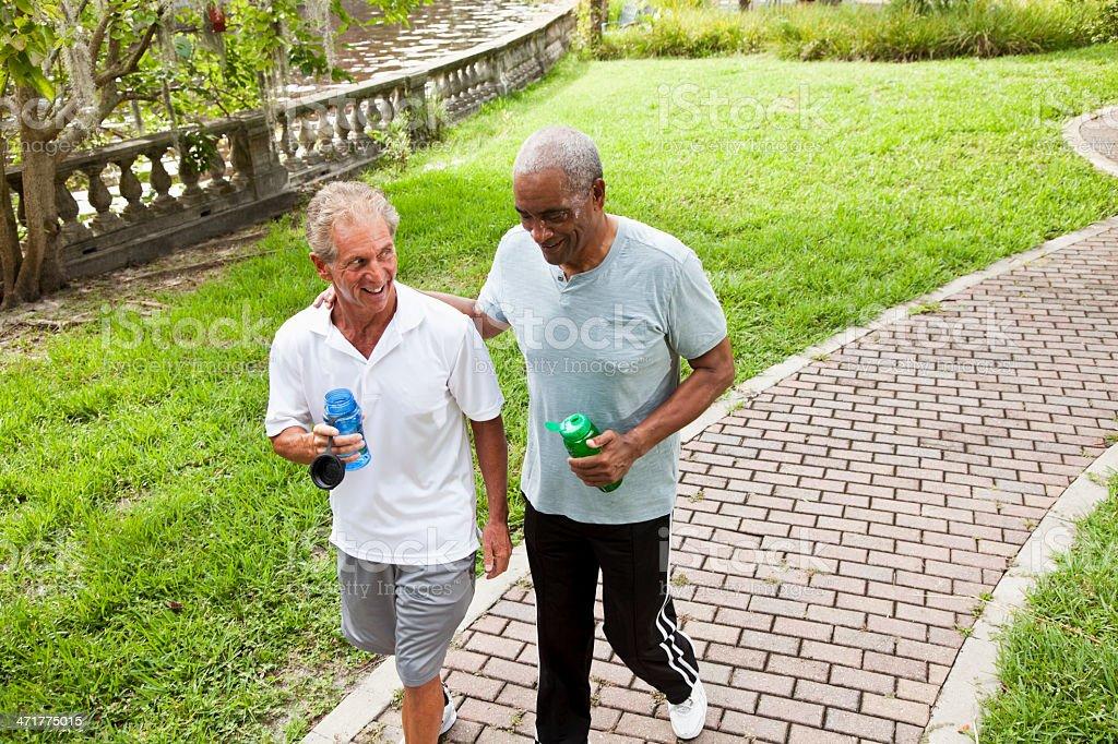Senior men after exercising stock photo
