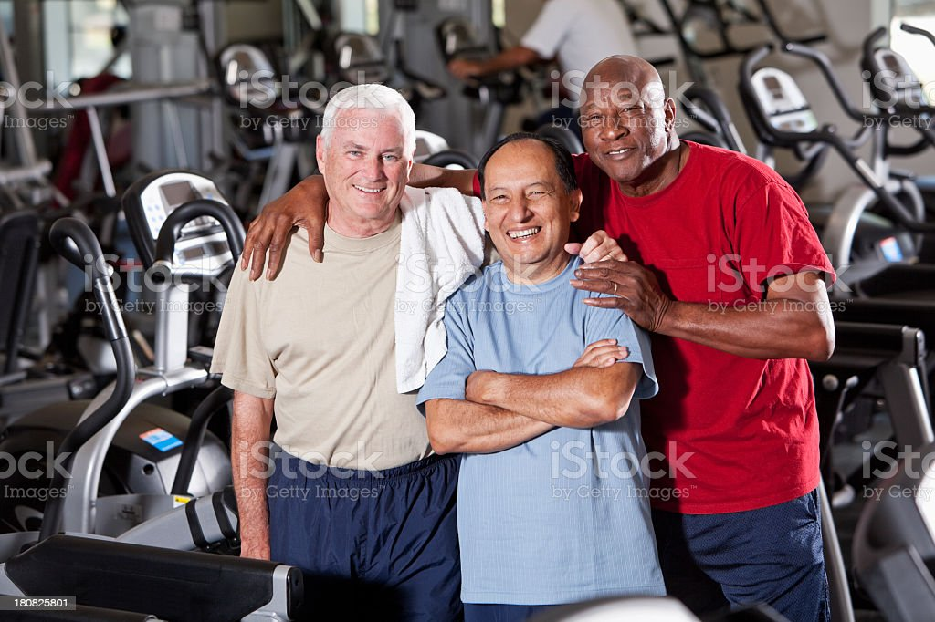 Senior men at health club stock photo