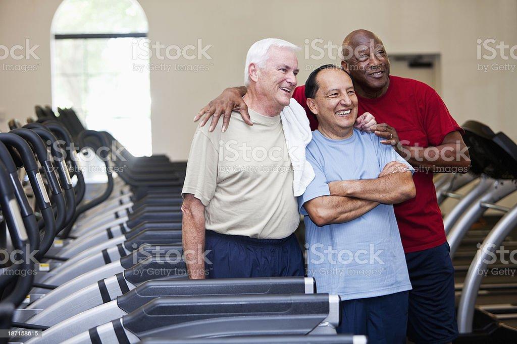 Senior men at health club royalty-free stock photo