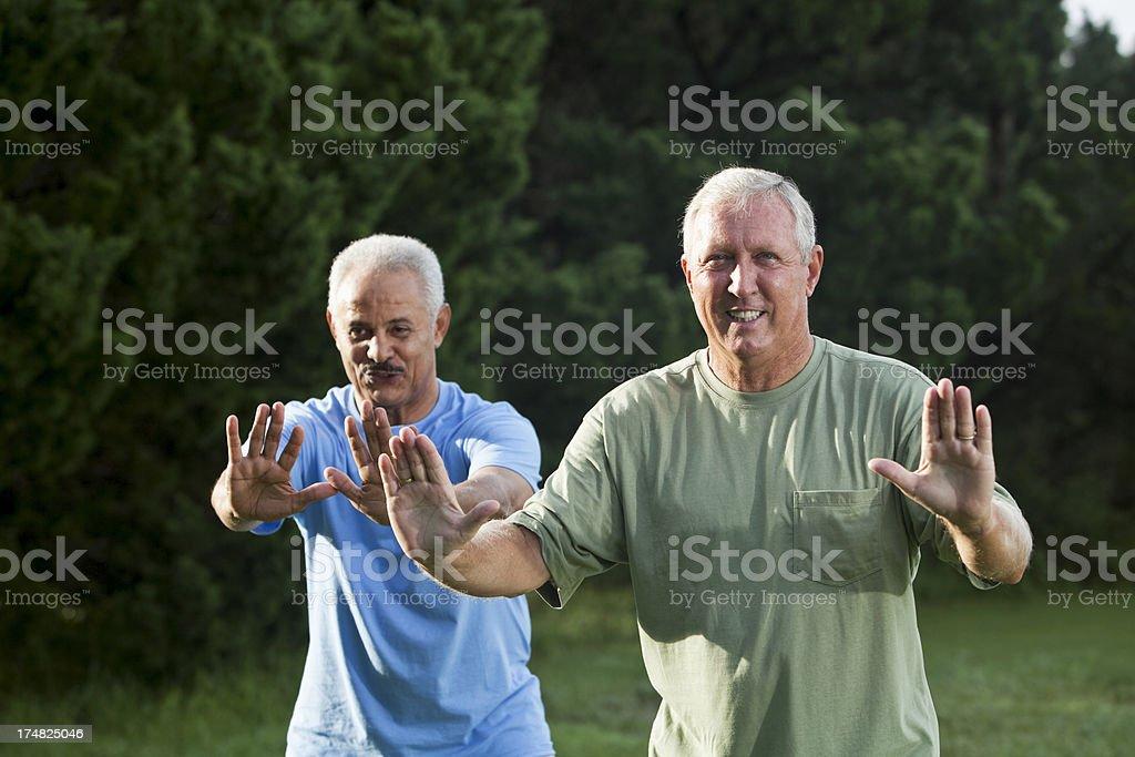 Senior men exercising stock photo