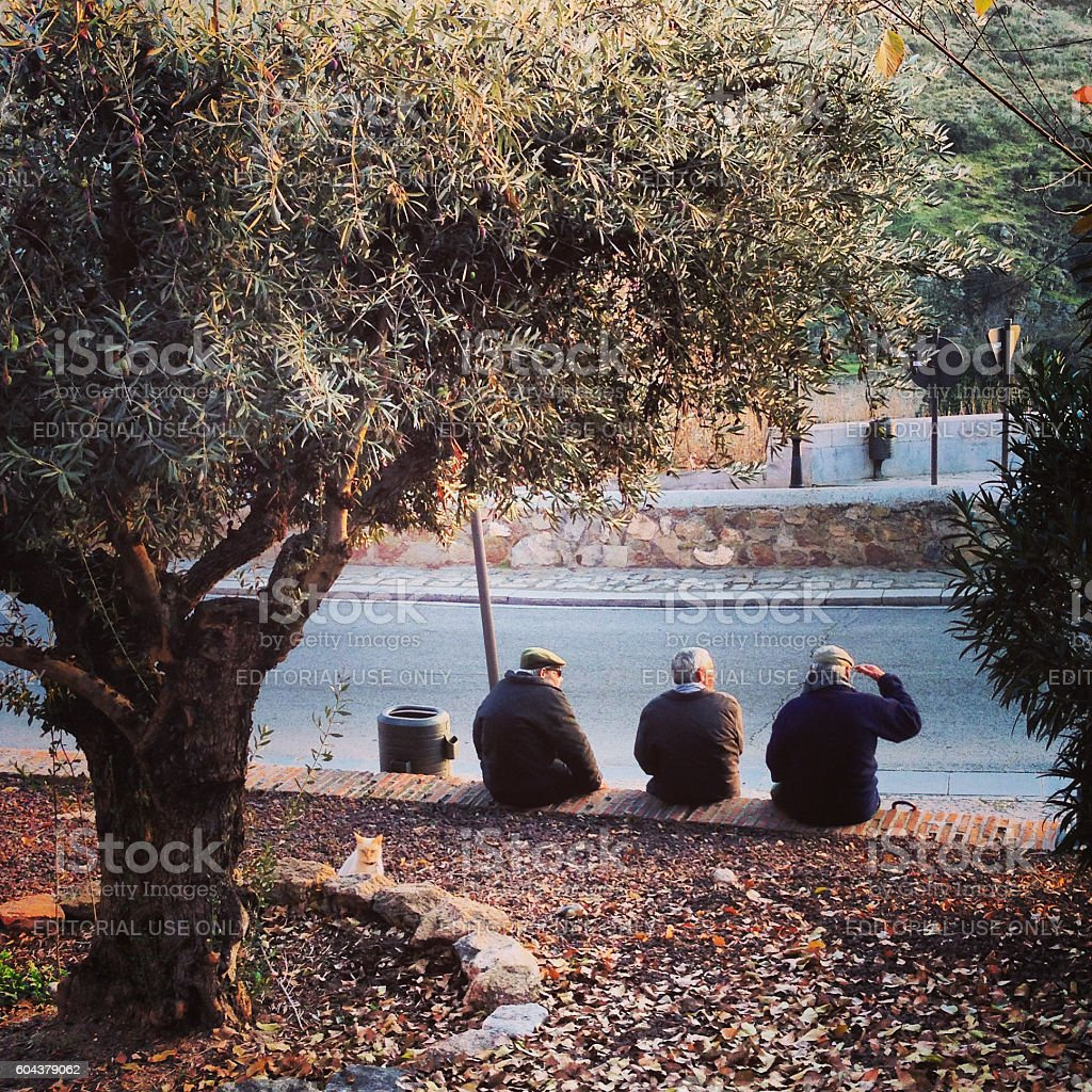 Senior men resting on Toledo street, Spain stock photo