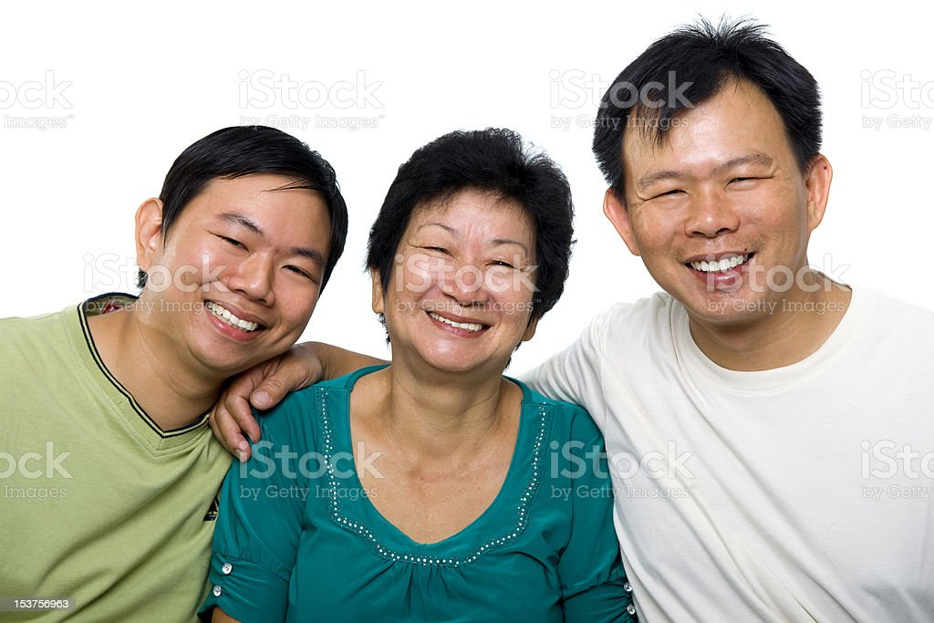 Senior mother and adult sons royalty-free stock photo