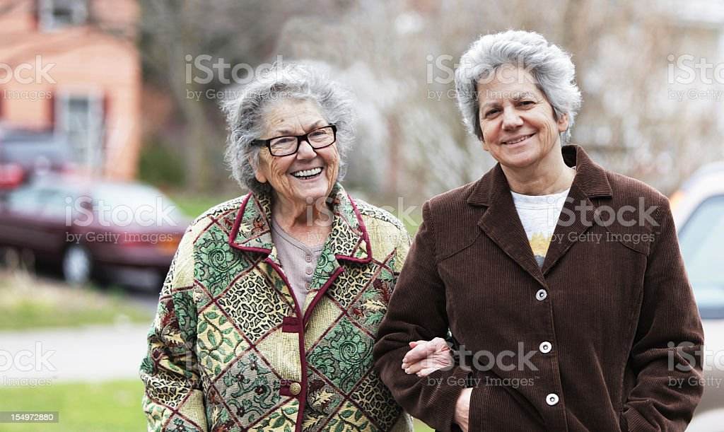 Senior Mother and Mature Daughter Smiling royalty-free stock photo