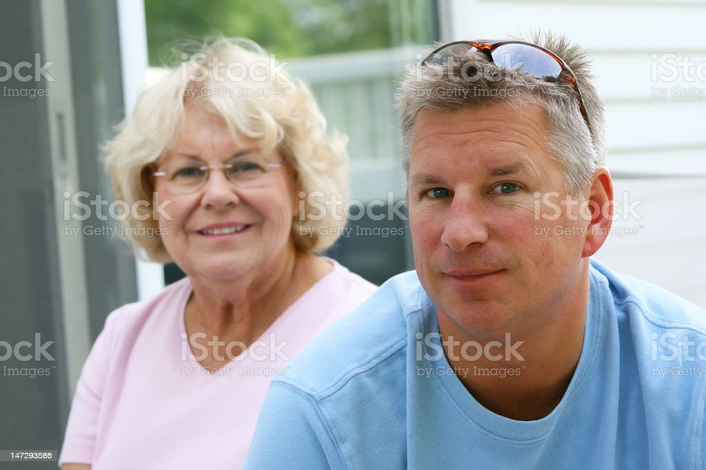 Senior mother with adult son. royalty-free stock photo