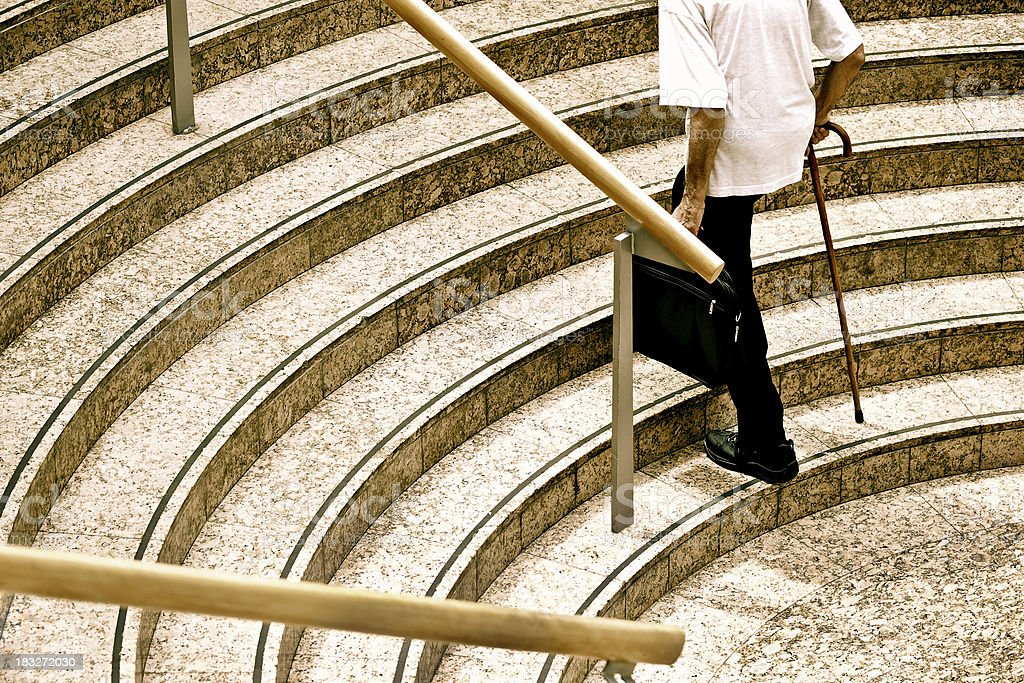 Senior on steps royalty-free stock photo