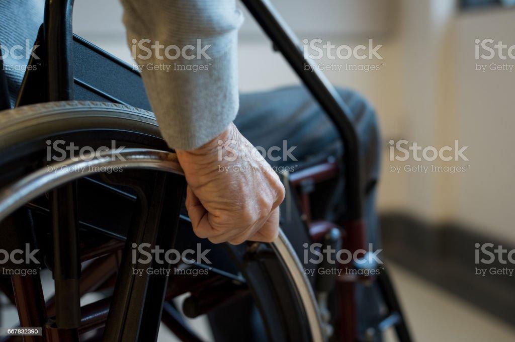 Senior on wheelchair stock photo
