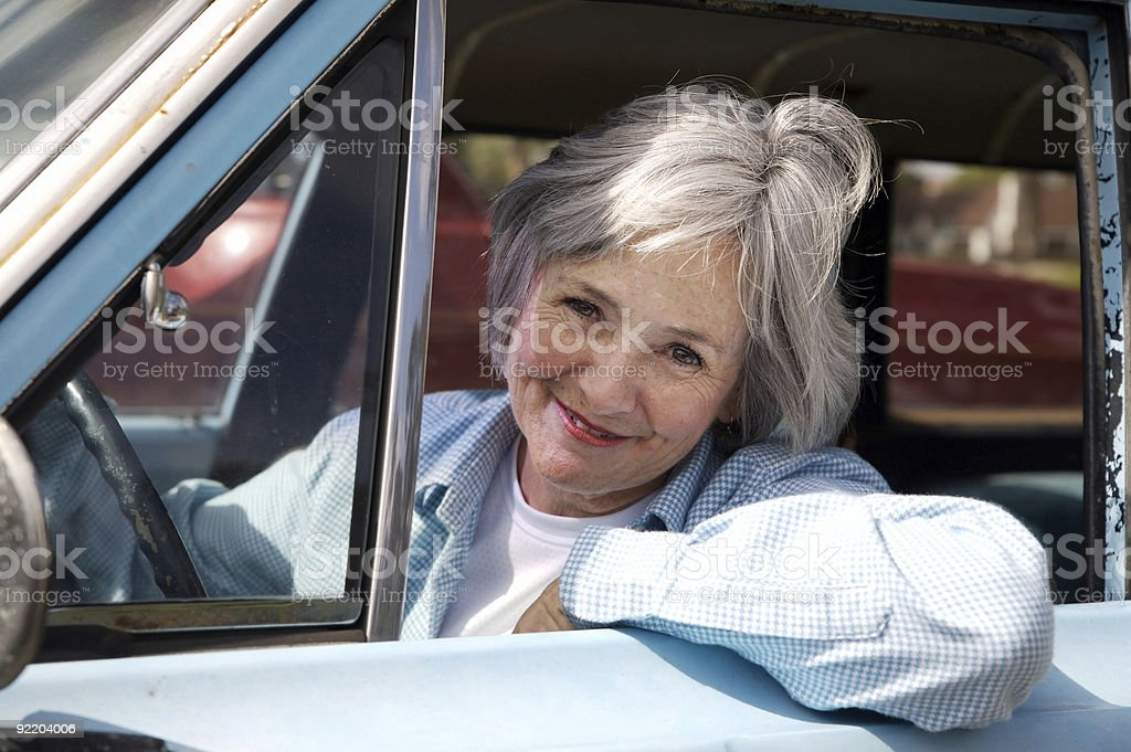 Senior out for a Drive stock photo