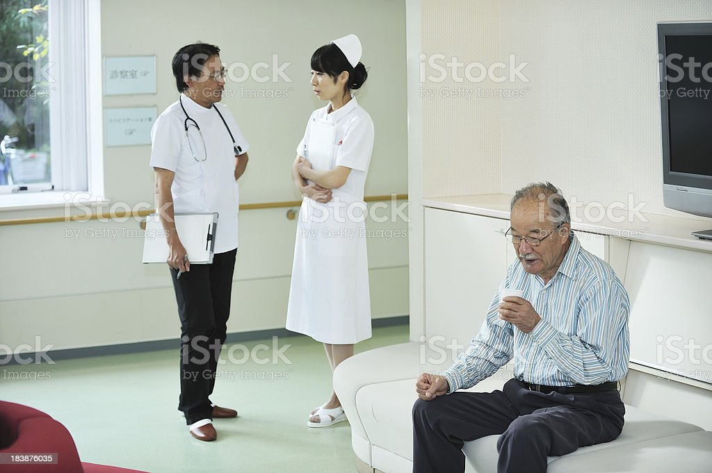 Senior Pateint in a Hospital Waiting Room royalty-free stock photo