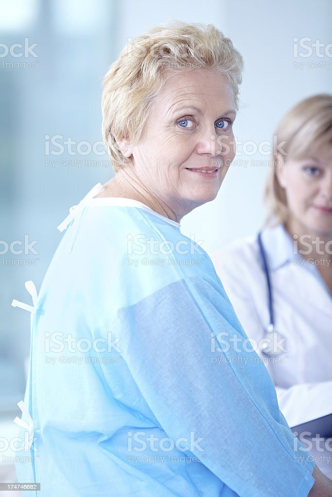 Senior patient at hospital stock photo