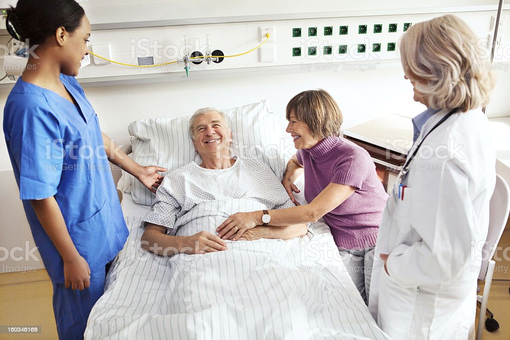 Senior patient at the hospital stock photo