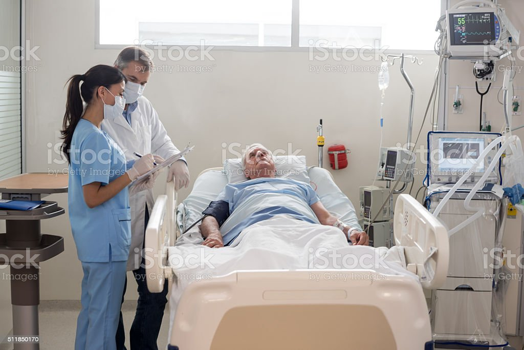 Senior patient at the ICU stock photo