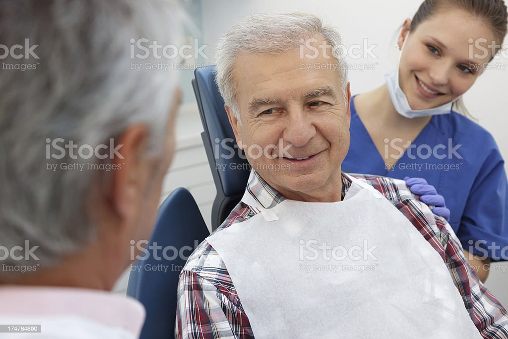 Senior patient in Dentist's Office stock photo
