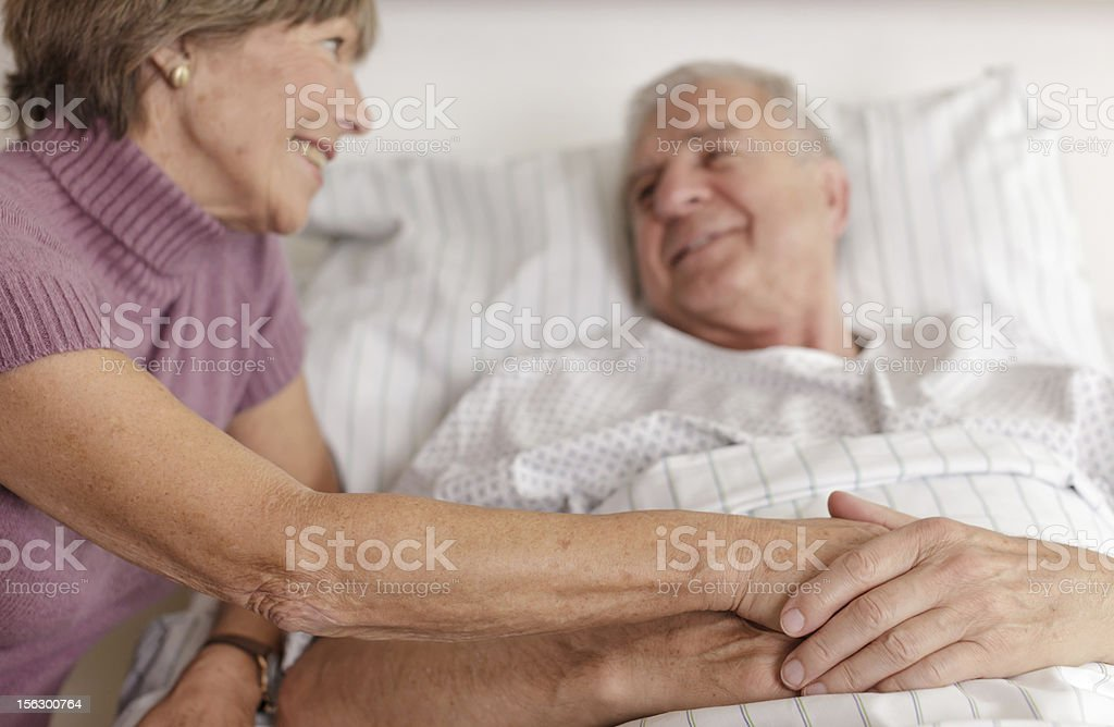 Senior Patient in Hospital Bed stock photo