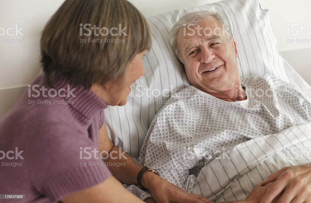 Senior Patient in Hospital Bed royalty-free stock photo