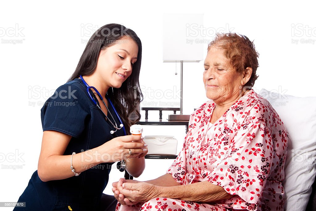 Senior patient prescription medication explanation stock photo