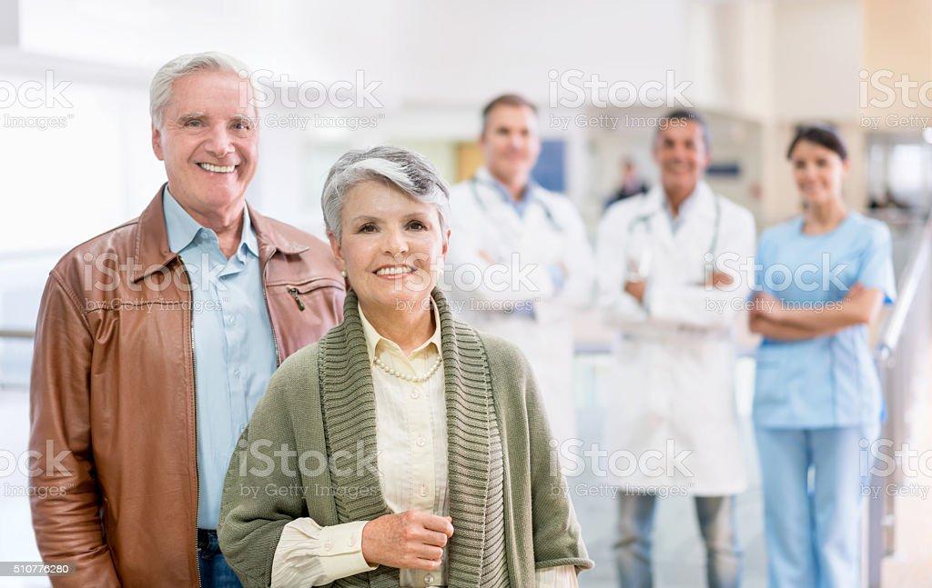 Senior patients at the hospital stock photo