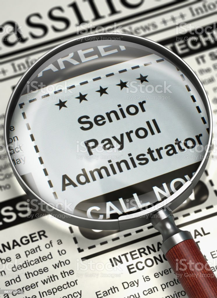 Senior Payroll Administrator Wanted. 3D stock photo