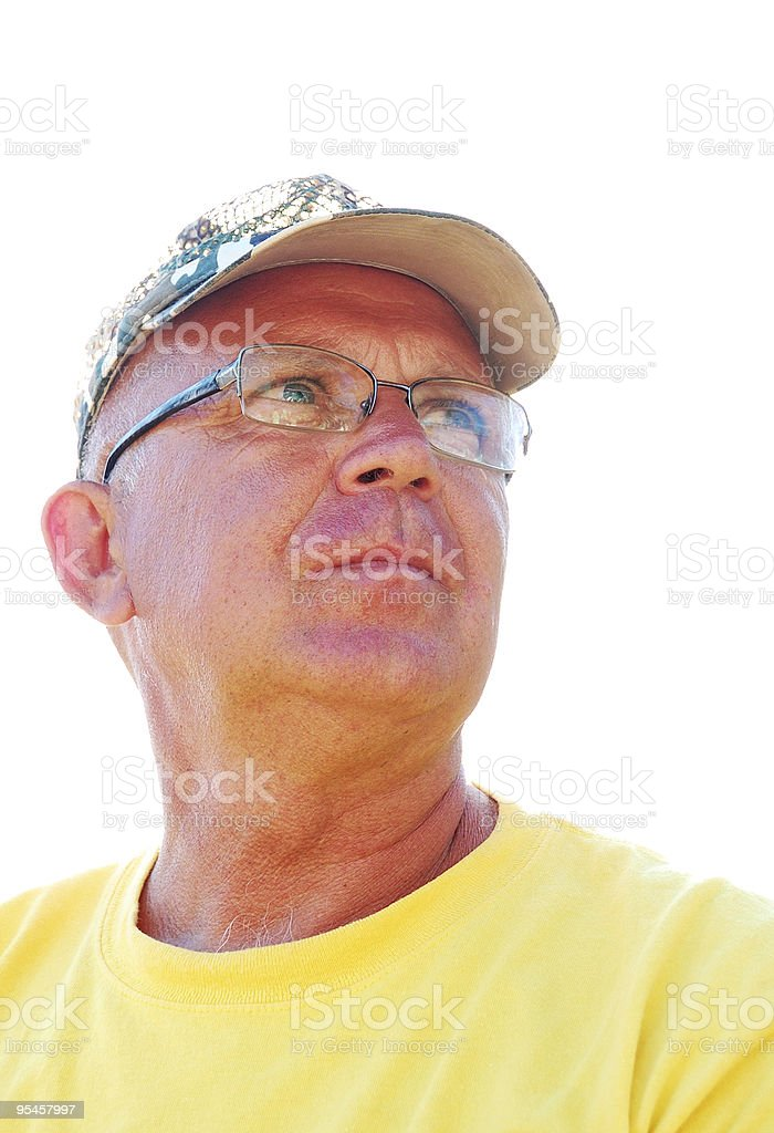 senior pensive man stock photo
