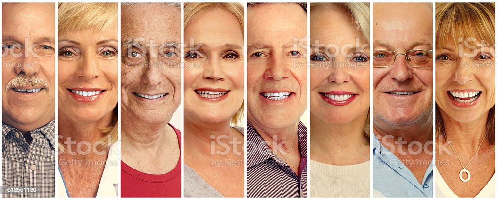 Senior people faces collection stock photo
