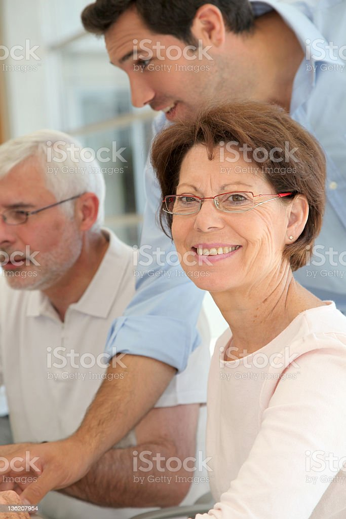 Senior people in business training royalty-free stock photo