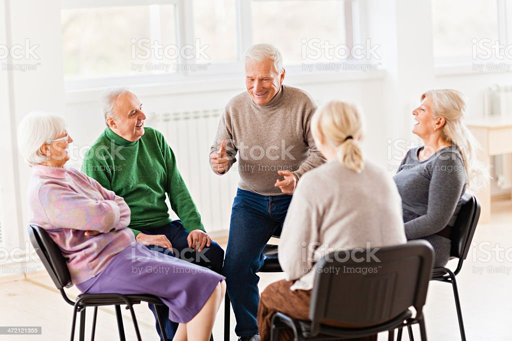 Close up of a senior people having good time in nursing home
