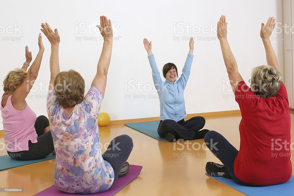 Senior people in the gym royalty-free stock photo