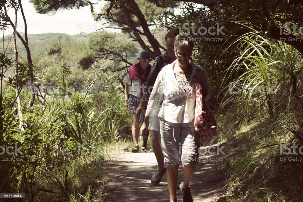 Senior People walking through Bush Track to Wharariki Beach, New Zealand stock photo