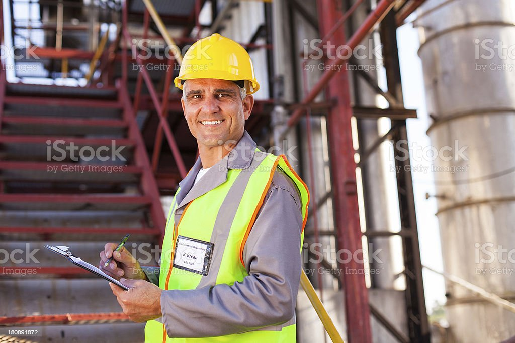 senior petrochemical worker stock photo