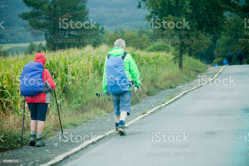 Senior pilgrims couple in the 'camino de Santiago' stock photo