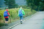 Senior pilgrims couple in the 'camino de Santiago'