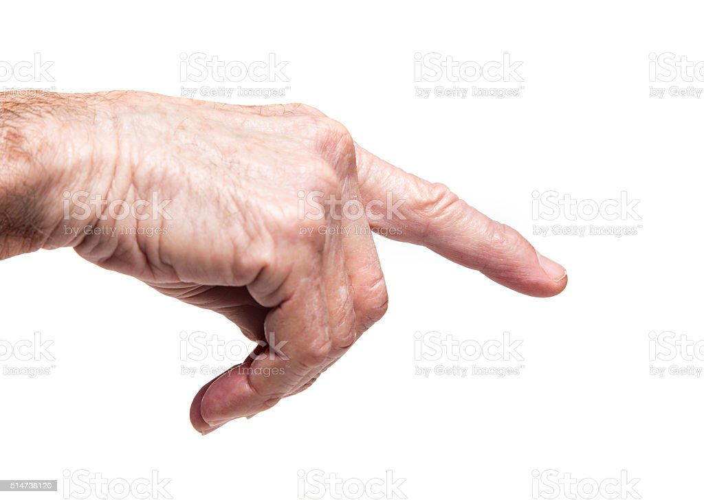 senior pointing hand stock photo