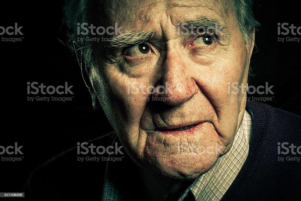 senior portrait worried stock photo