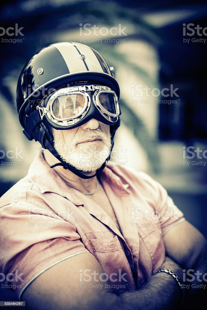 senior racing driver stock photo