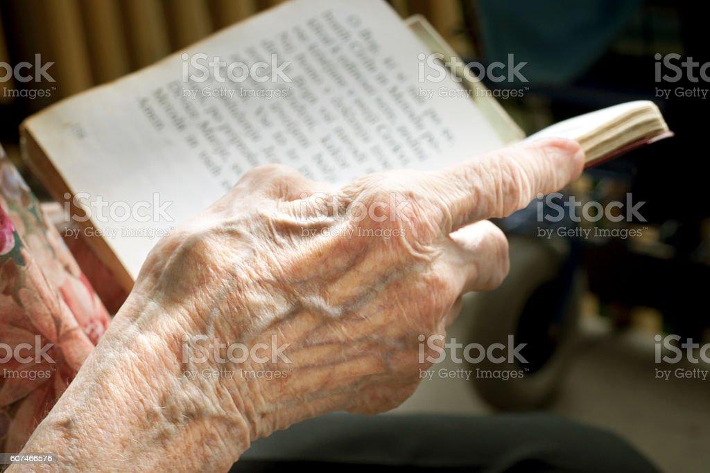 Senior reading a book stock photo