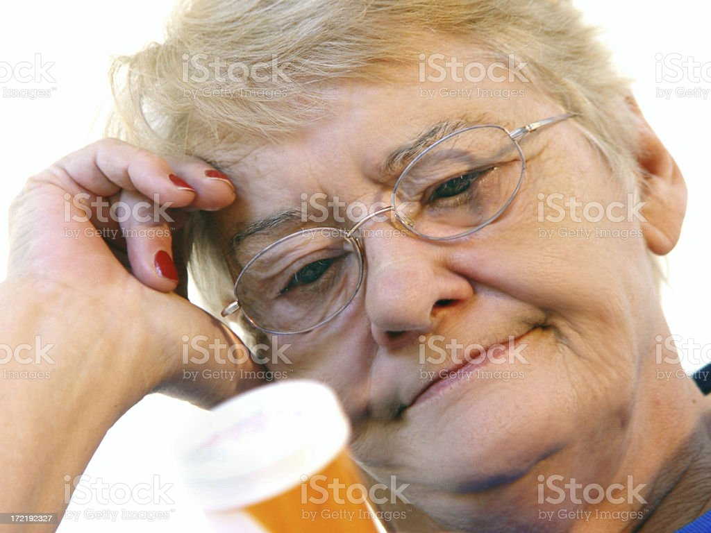 senior - reading medication stock photo