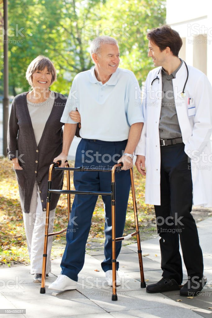 Senior recovering at the hospital stock photo