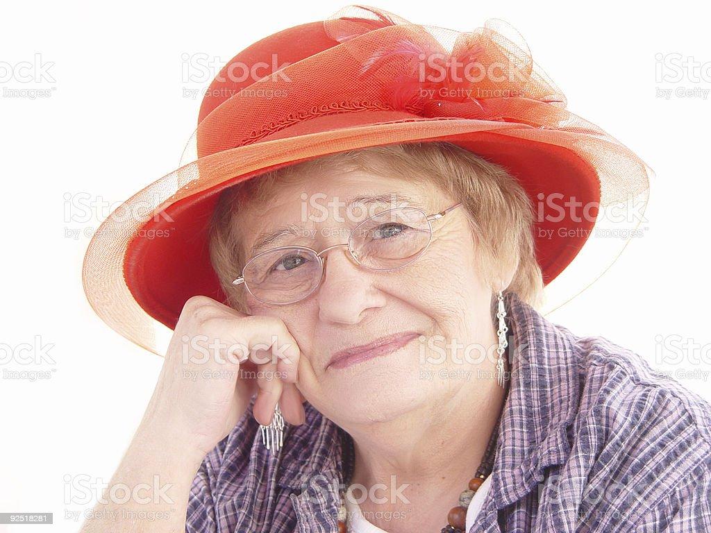 senior - red hat lady society royalty-free stock photo