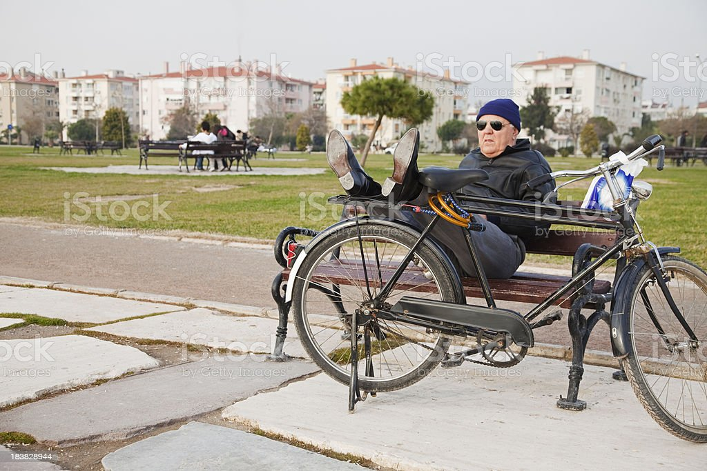 Senior Relaxing at Park royalty-free stock photo