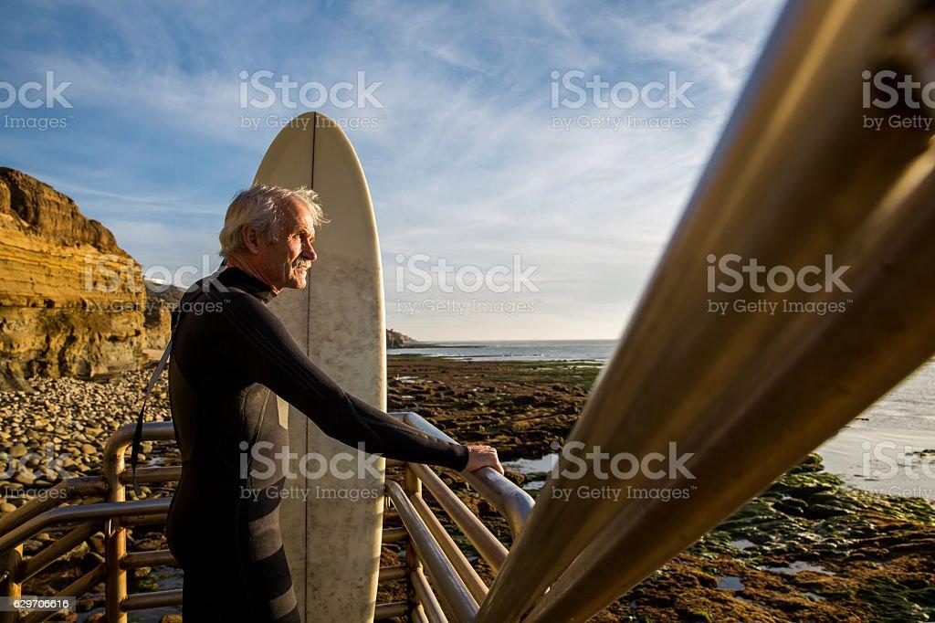 Senior Retired Surfer Man stock photo