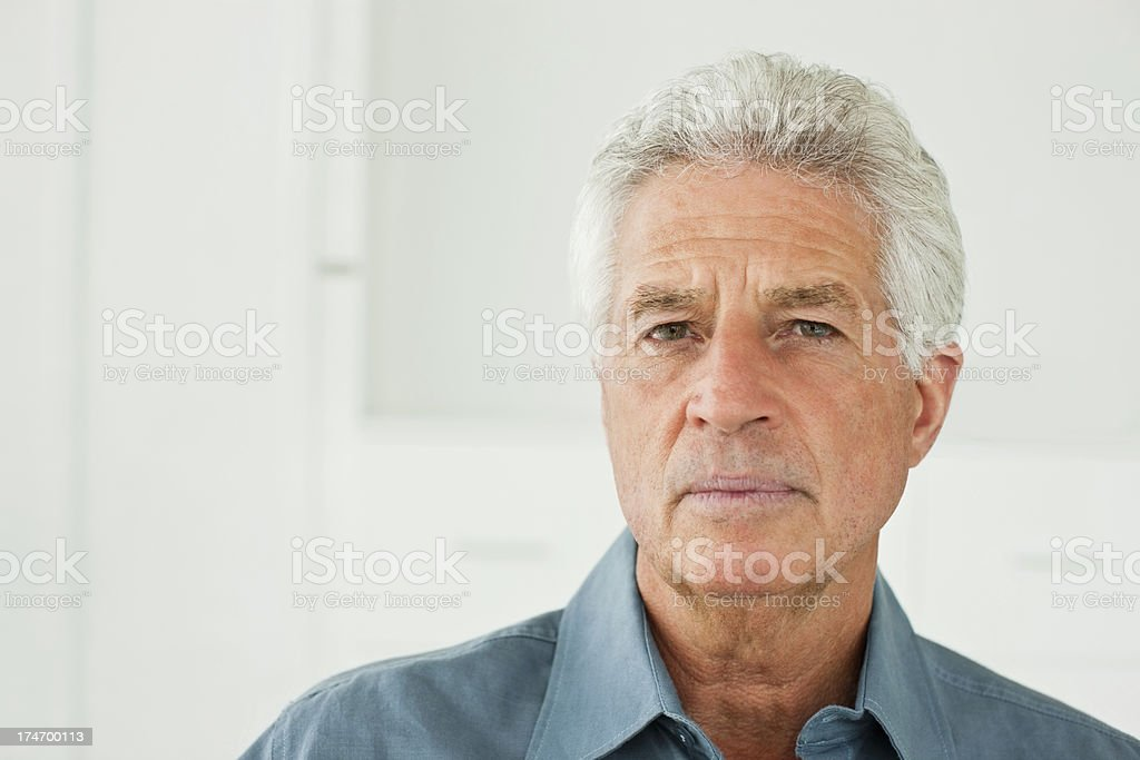 Senior retired thinking man. stock photo