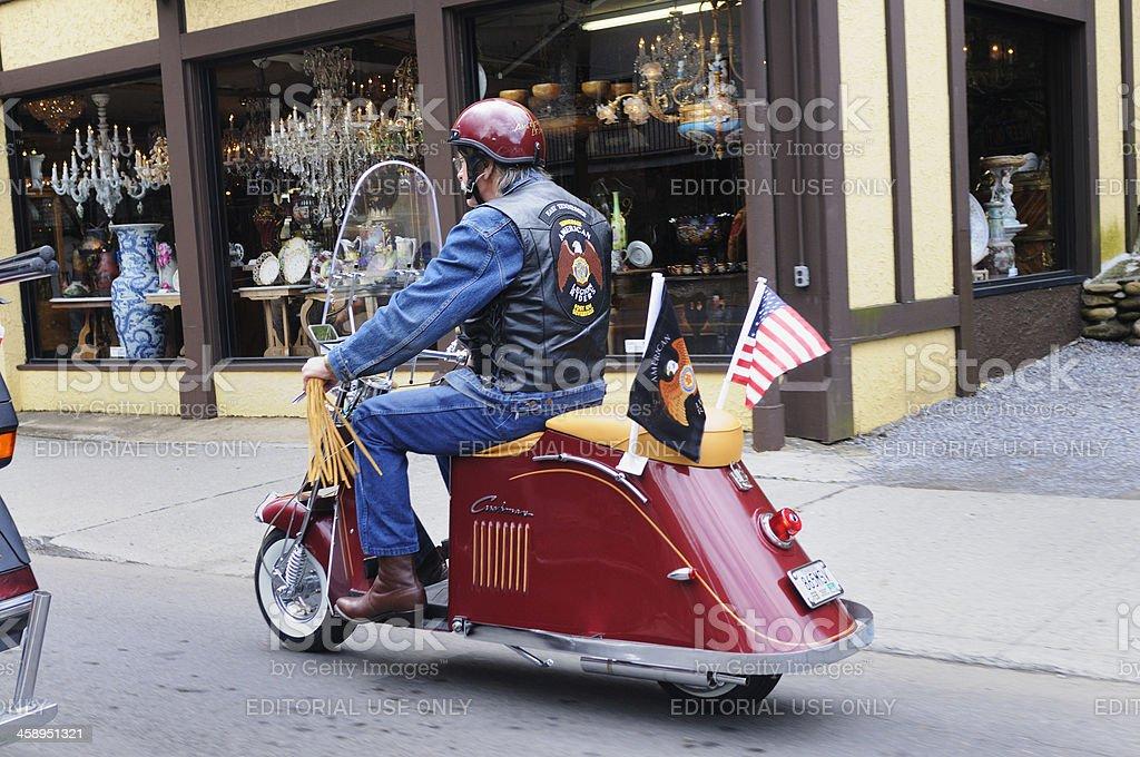 Senior Riding Motor Scooter royalty-free stock photo