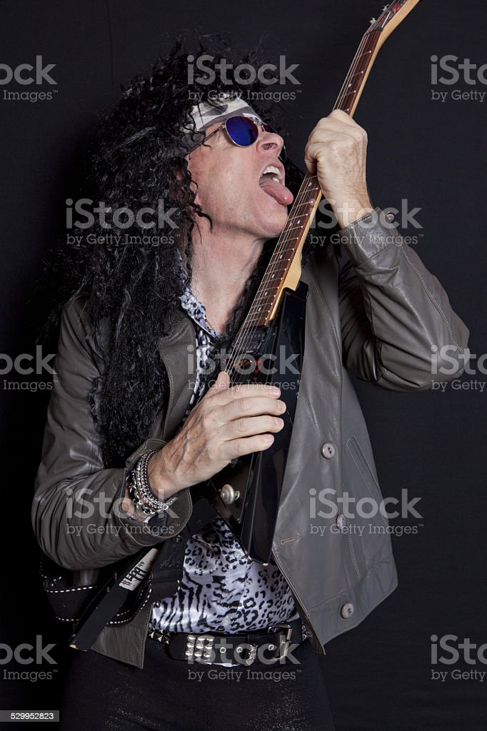 Senior rockers having fun stock photo
