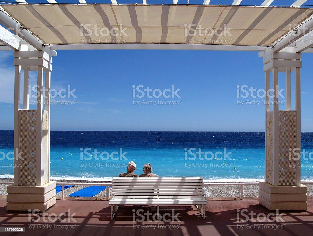 Senior romance on Cote d'Azur royalty-free stock photo