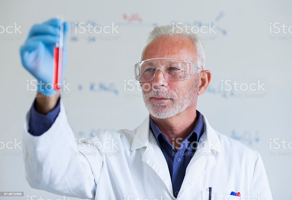 Senior scientist stock photo