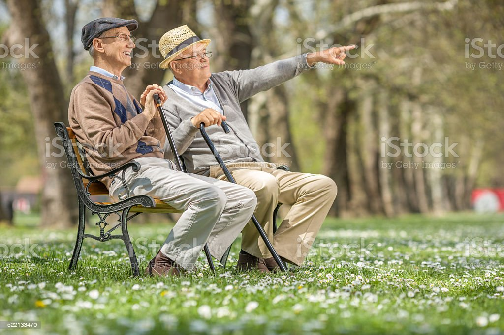 Senior showing something to his friend stock photo