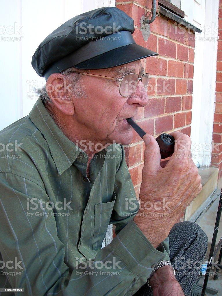 Senior smoking stock photo