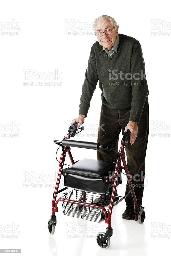 Senior Strolling with Walker royalty-free stock photo