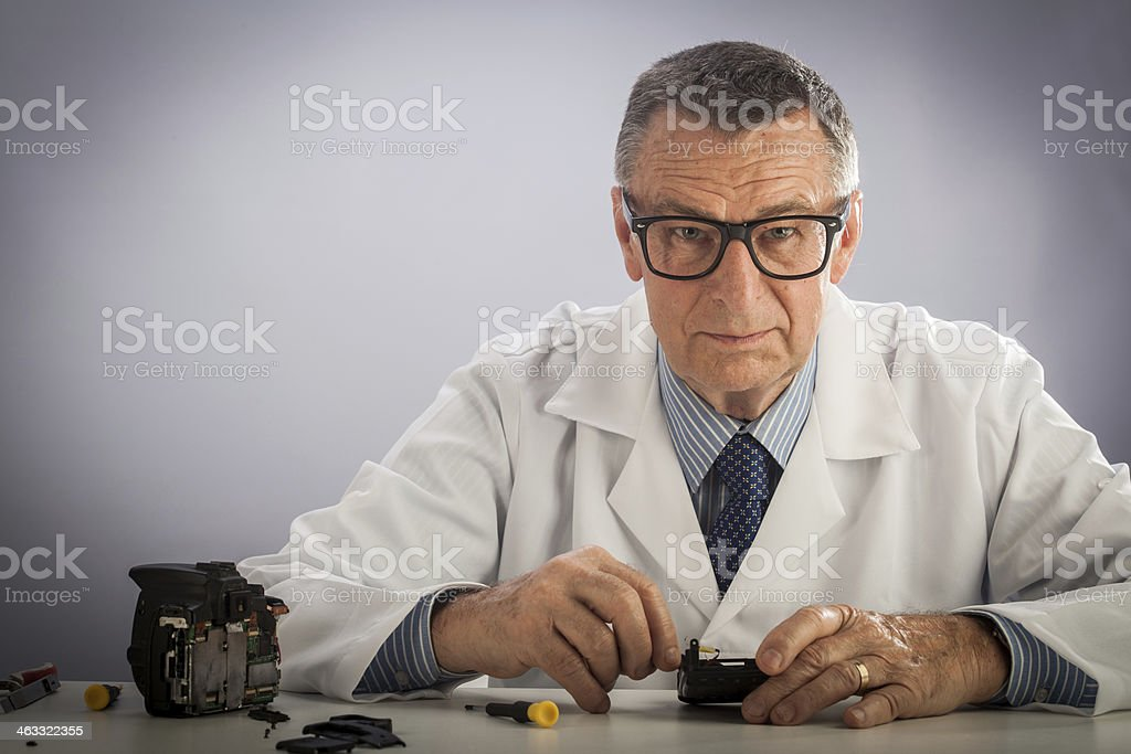 Senior Technician with Glasses royalty-free stock photo