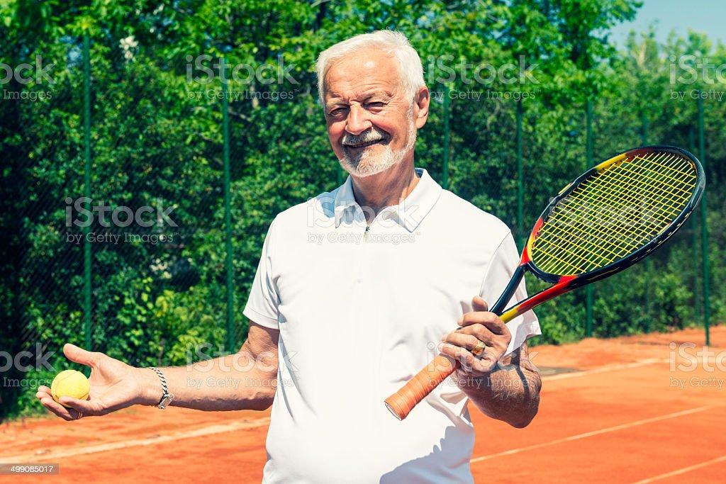 Senior tennis player royalty-free stock photo