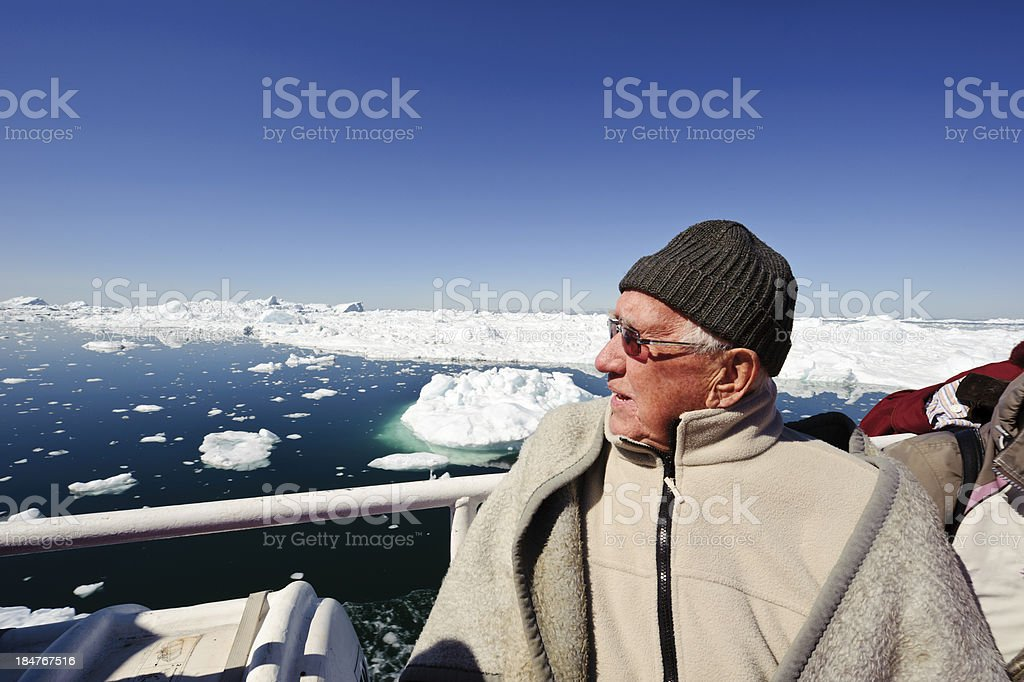 Senior tourist in Greenland stock photo